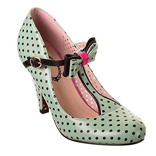 Dancing Days Damen Vintage Pumps Polka Dot - Marilyn Minzgrün T-Spangen High Heels (39)