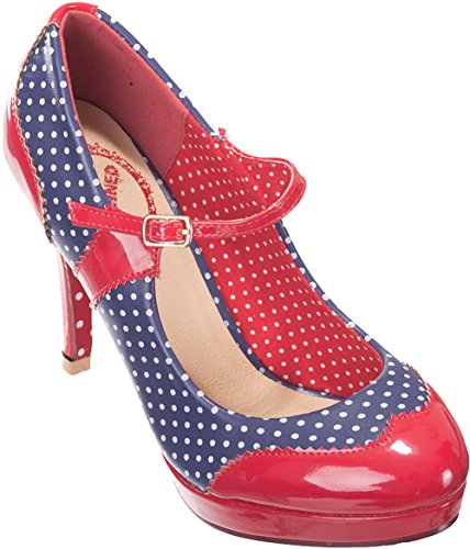 Dancing Days MARY Polka Dots Riemchen Punkte HIGH HEELS Pumps Rockabilly