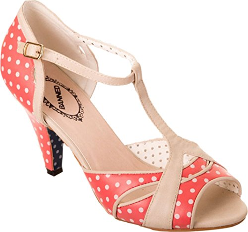 Banned NORMA 50s POLKA DOTS Punkte T-Strap PEEP TOES Pumps Rockabilly