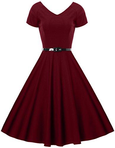 Gigileer Damen Vintage V-Ausschnitt Schwingen Rockabilly Ballkleid Kleider Cocktailkleid Burgundy S