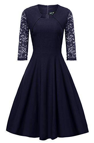 Gigileer Damen Kleider 3/4 Arm mit Spitzen Knielang Abendkleid Minikleid festlich Cocktail Party Navy M