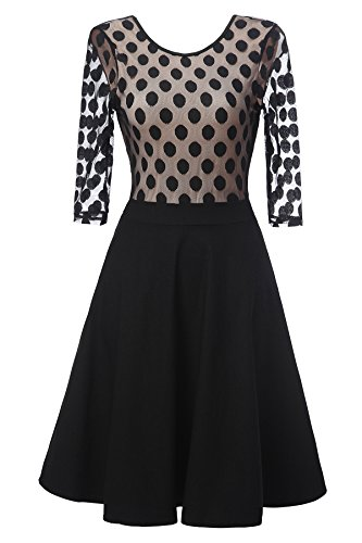 Gigileer Vintage Damen Kleider Pin Dots Swing Dress 1/2 Arm Knielang festlich Party schwarz XL