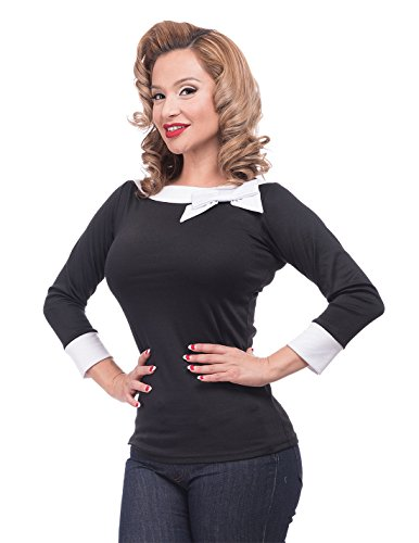 Steady Clothing Damen Retro Bluse mit Schleife - Solid Boatneck Rockabilly Oberteil 3/4 Arm Schwarz M