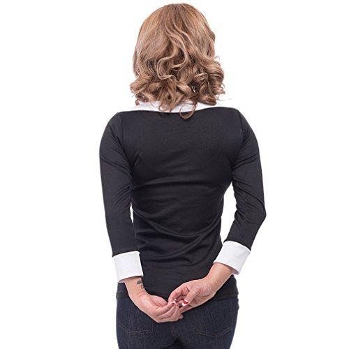 Steady Clothing Damen Retro Bluse mit Schleife - Solid Boatneck Rockabilly Oberteil 3/4 Arm Schwarz M -