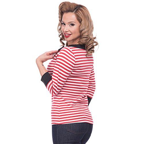 Steady Clothing Damen Retro Bluse mit Schleife – Striped Boatneck Rockabilly Oberteil 3/4 Arm Rot M - 2
