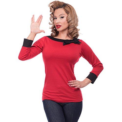 Steady Clothing Damen Retro Bluse mit Schleife – Solid Boatneck Rockabilly Oberteil 3/4 Arm Rot XL - 2