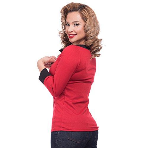 Steady Clothing Damen Retro Bluse mit Schleife – Solid Boatneck Rockabilly Oberteil 3/4 Arm Rot XL - 3