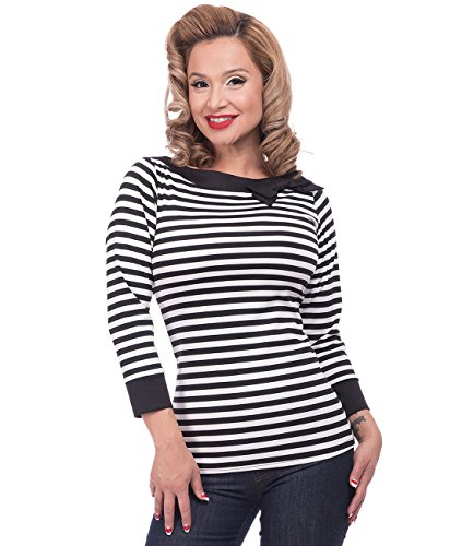Steady Clothing Damen Retro Bluse mit Schleife - Striped Boatneck Rockabilly Oberteil 3/4 Arm Schwarz M