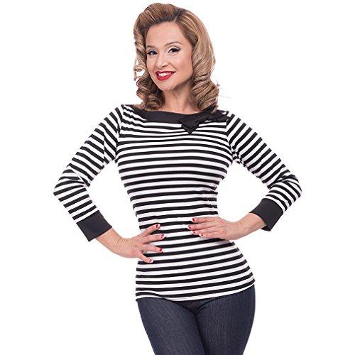 Steady Clothing Damen Retro Bluse mit Schleife – Striped Boatneck Rockabilly Oberteil 3/4 Arm Schwarz M - 2