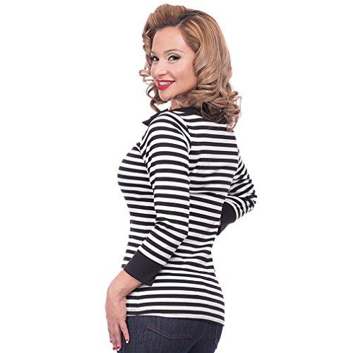 Steady Clothing Damen Retro Bluse mit Schleife – Striped Boatneck Rockabilly Oberteil 3/4 Arm Schwarz M - 3