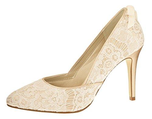Rainbow Couture Brautschuhe Agnes - Pumps, Stiletto, Ivory / Creme / Gold, Spitze, Satin, Größe 40.5 - Hochzeitsschuhe, High Heels, Pfennigabsatz