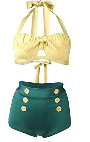 Gigileer Damen Retro Badeanzug Bademode Bikini Set hohe Teillen gelb & gruen L