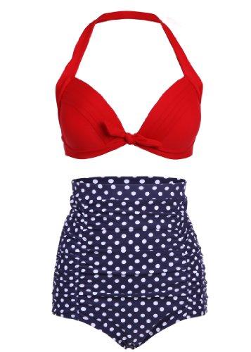 Dunkelblauer Polka Dot Pünktchen Retro PinUp Vintage Bikini mit hoher Taille und rotem Oberteil, Mehrfarbig, Large