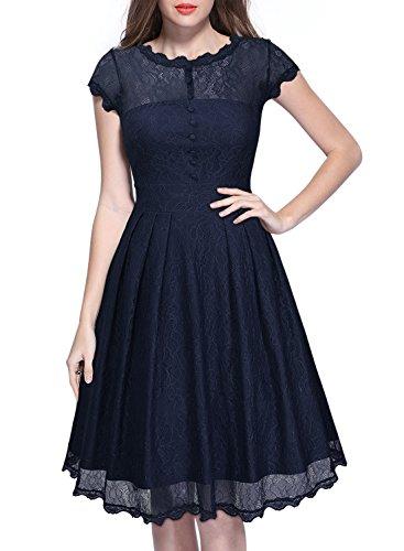 Miusol Damen Elegant Spitzenkleid Cocktailkleid Knielanges Vintage 50er Jahr Abendkleid Dunkelblau Gr.M