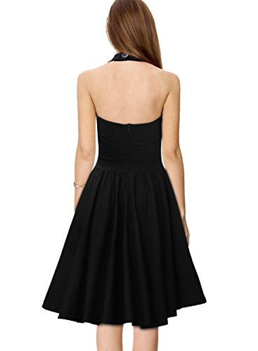Miusol Damen Sommerkleid Neckholder Stretch Rockabilly Retro Cocktailkleid 1950er Party Kleid Schwarz Groesse 36/38/S -