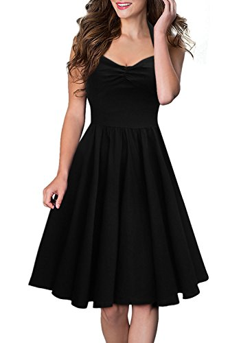 Miusol Neckholder Rockabilly Cocktailkleid 1950er Party Kleid Schwarz - 3
