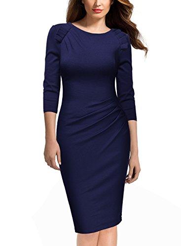 ᐅ Miusol Damen Abendkleid Rundhals Elegant Kleid 3 4 Arm Etuikleid Cocktailkleid Blau Gr Xl