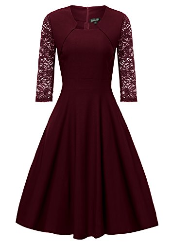 Gigileer Damen Kleider 3/4 Arm mit Spitzen Knielang Abendkleid Minikleid festlich Cocktail Party Burgundy M