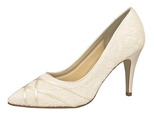 Rainbow Club Brautschuhe Ashleigh Ivory Satin / Vintage Lace (Bliss) (5.5)