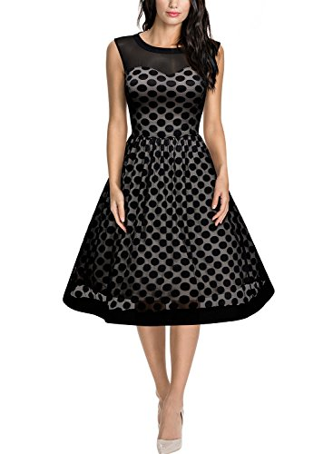 Miusol Knielang Abendkleid Retro 50er Rockabilly kleid Cocktail Ballkleid Schwarz