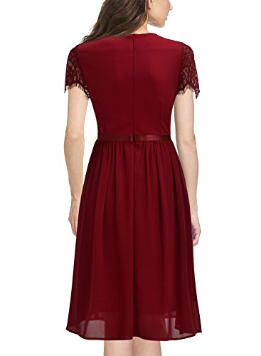 Miusol Damen Abendkleid Sommer Chiffon festlich Kleid Cocktailkleid Vinatge kleider Rot Gr.S -