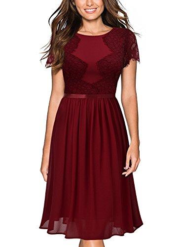 Miusol Abendkleid Sommer Chiffon festlich Kleid Cocktailkleid Vinatge kleider Rot - 2