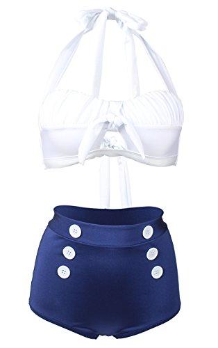 Gigileer Damen Retro Badeanzug Bademode Bikini Set hohe Teillen weiss & blau XXL