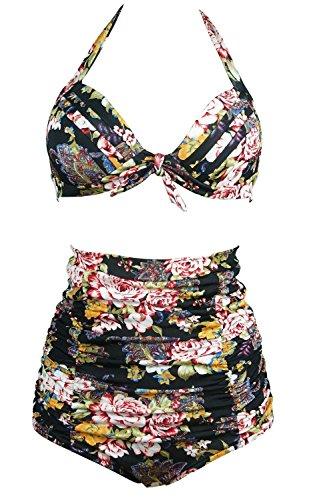 neuartiges Design letzte Auswahl exzellente Qualität Gigileer 50's Rockabilly Damen Frauen Bademode Bikini Swimsuit High Waisted  – Bauchweg – Plus Size Schwarz M