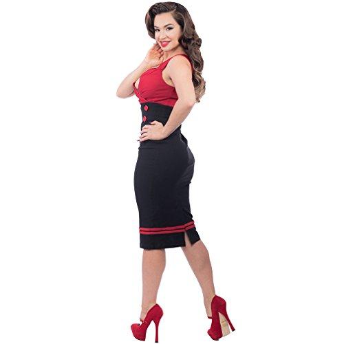 Vintage 50er Jahre Bleistiftkleid – Set Sail Diva Dress Rot - 3