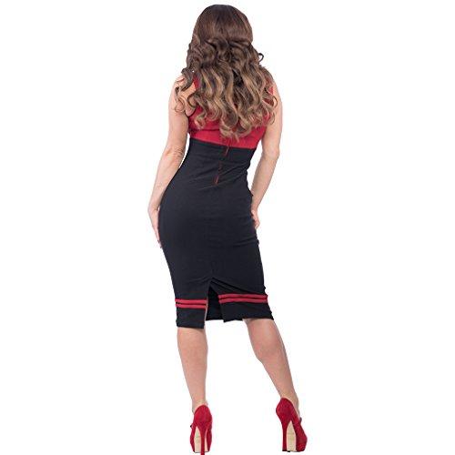 Vintage 50er Jahre Bleistiftkleid – Set Sail Diva Dress Rot - 2