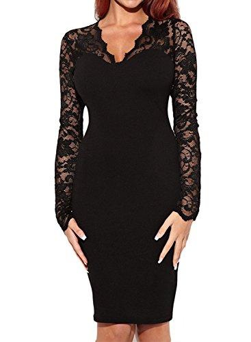 ᐅ Miusol Abendkleid Spitzen V-Ausschnitt Cocktail Ballkleid Langarm ...