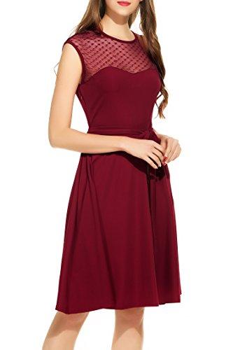 Zeagoo Elegant Damen Kleider Kurzarm Retro Vintage 50er Jahr Sewing Rockabilly Kleid Cocktailkleid Abendkleid Ballkleid Weinrot L - 3