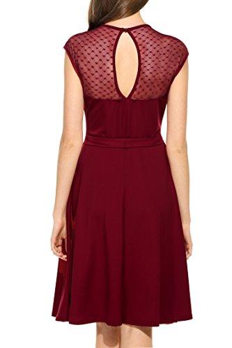 Zeagoo Elegant Damen Kleider Kurzarm Retro Vintage 50er Jahr Sewing Rockabilly Kleid Cocktailkleid Abendkleid Ballkleid Weinrot L - 4
