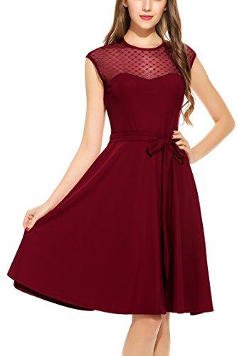 Zeagoo Elegant Damen Kleider Kurzarm Retro Vintage 50er Jahr Sewing Rockabilly Kleid Cocktailkleid Abendkleid Ballkleid Weinrot L - 2