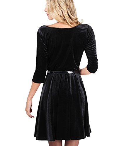 KRISP Damen Vintage Samt Kleid_(9364-BLK-M) -