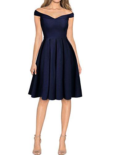 MIUSOL Damen Retro Cocktailkleid 1950er Off Schulter Schwingen Vintage Rockabilly Kleid Navy Blau