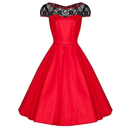 Pretty Kitty Rot Schwarz V-Ausschnitt Swing-Kleid