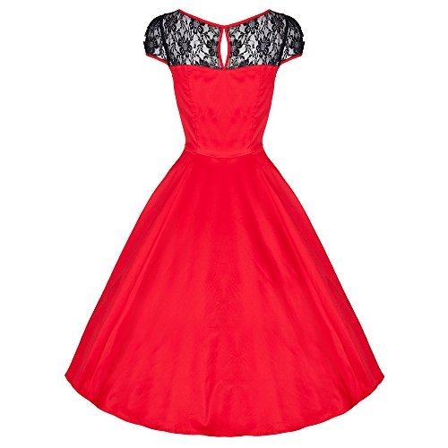 Pretty Kitty Rot Schwarz V-Ausschnitt Swing-Kleid -