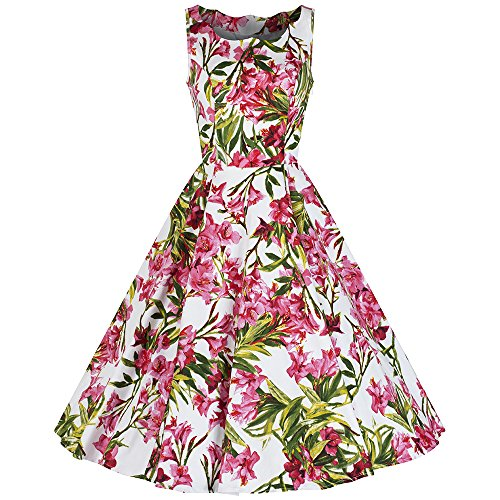 Pretty Kitty Fashion Weiß Rosa Ärmelloses Blumen Rockabilly Baumwolle 50er Kleid