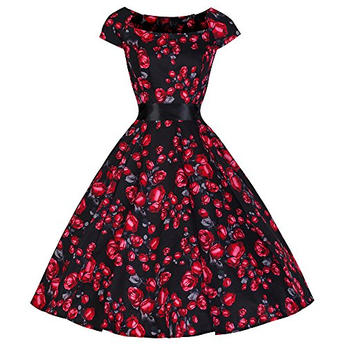 Pretty Kitty Fashion 50s Schwarz Rot Vintage Rose Tea Dress, Gr. EU 34 / UK 6
