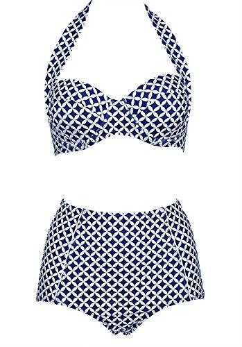 Los Angeles exquisites Design beste Sammlung Damen Retro Badeanzug Bademode Bikini Set blau Label XXXL(EU 42-44)