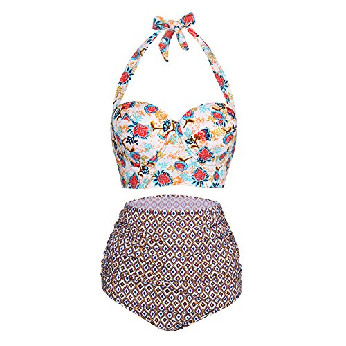 FeelinGirl Damen Push Up Gefütterte Neckholder Zwei Stück Badeanzüge Bikini Set Bademode M
