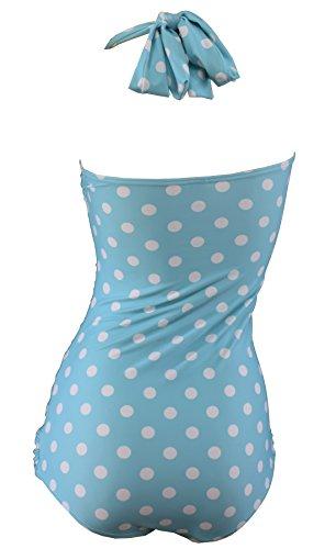 bfb4624258b00b Aloha-Beachwear Rockabilly Vintage Look Neckholder Damen Badeanzug mit  Polka Dots gepunktet Punkte A3039 (