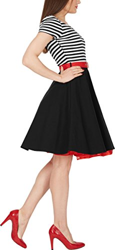 BlackButterfly 'Maria' Vintage Gestreift Pin-up-Kleid (Schwarz, EUR 36 - XS) -