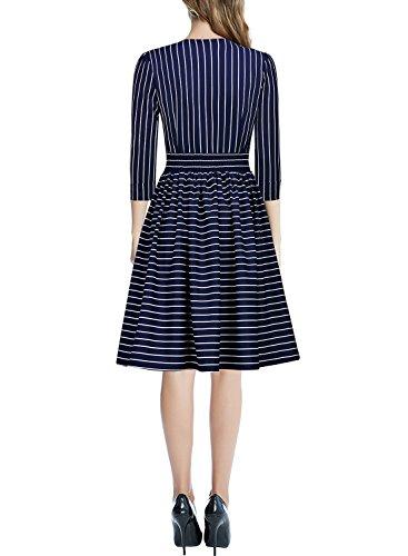 MIUSOL Business Tiefer V-Ausschnitt Schal 3/4 Arm Streifen A-Linie Damen Abendkleid Navy Blau L -