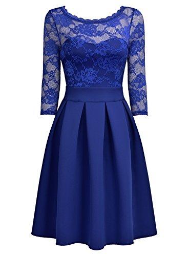 MIUSOL Damen Elegant Spitzenkleid Vintage Cocktail Spitzen 3/4 Arm Abendkleider Hellblau XL -