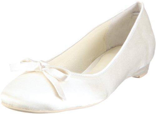 Damen Ballerinas Brautschuhe, Elfenbein / Ivory