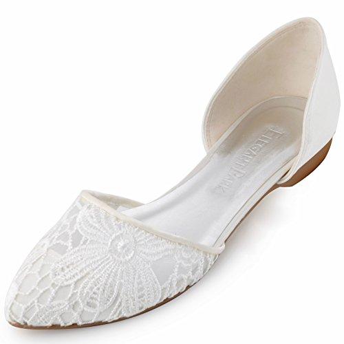 Damen Lace Ballerinas Brautschuhe Ivory