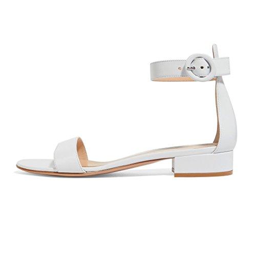 EDEFS Damen Offener Zehe Knöchelriemchen Sandalen Flache Sommer Schuhe Weiß Größe EU44