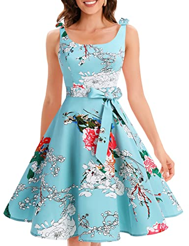 Bbonlinedress 1950er Vintage Polka Dots Pinup Retro Rockabilly Kleid Cocktailkleider Green Flower L